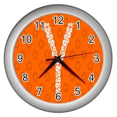 Iron Orange Y Combinator Gears Wall Clocks (silver)  by Mariart