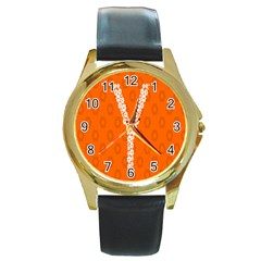 Iron Orange Y Combinator Gears Round Gold Metal Watch by Mariart