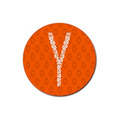 Iron Orange Y Combinator Gears Rubber Round Coaster (4 Pack)  by Mariart