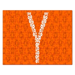 Iron Orange Y Combinator Gears Rectangular Jigsaw Puzzl by Mariart