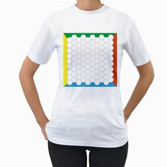 Hex Grid Plaid Green Yellow Blue Orange White Women s T Shirt (white) (two Sided) by Mariart