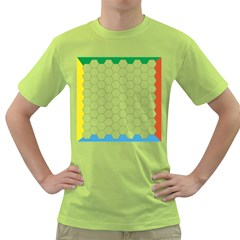 Hex Grid Plaid Green Yellow Blue Orange White Green T Shirt by Mariart