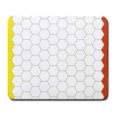 Hex Grid Plaid Green Yellow Blue Orange White Large Mousepads by Mariart