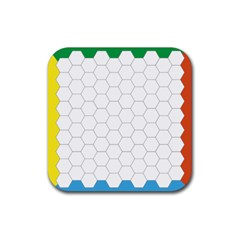 Hex Grid Plaid Green Yellow Blue Orange White Rubber Square Coaster (4 Pack)  by Mariart
