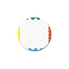 Hex Grid Plaid Green Yellow Blue Orange White Golf Ball Marker (10 Pack) by Mariart