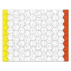Hex Grid Plaid Green Yellow Blue Orange White Rectangular Jigsaw Puzzl by Mariart