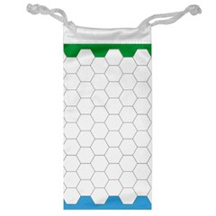 Hex Grid Plaid Green Yellow Blue Orange White Jewelry Bag by Mariart