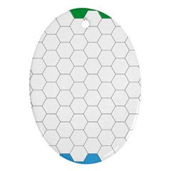 Hex Grid Plaid Green Yellow Blue Orange White Oval Ornament (two Sides) by Mariart