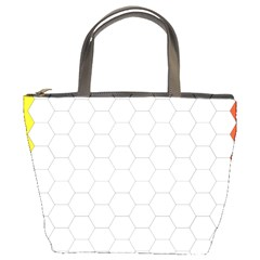 Hex Grid Plaid Green Yellow Blue Orange White Bucket Bags by Mariart