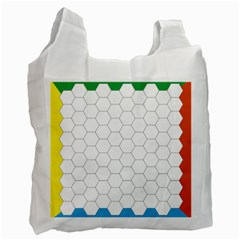 Hex Grid Plaid Green Yellow Blue Orange White Recycle Bag (two Side)  by Mariart