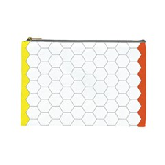 Hex Grid Plaid Green Yellow Blue Orange White Cosmetic Bag (large)  by Mariart