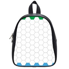 Hex Grid Plaid Green Yellow Blue Orange White School Bags (small)  by Mariart