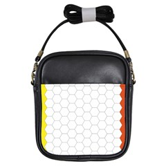 Hex Grid Plaid Green Yellow Blue Orange White Girls Sling Bags by Mariart
