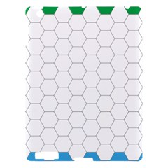 Hex Grid Plaid Green Yellow Blue Orange White Apple Ipad 3/4 Hardshell Case by Mariart