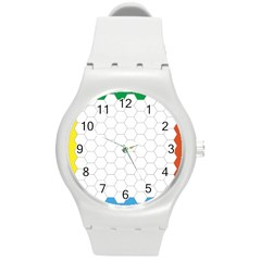 Hex Grid Plaid Green Yellow Blue Orange White Round Plastic Sport Watch (m) by Mariart