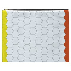 Hex Grid Plaid Green Yellow Blue Orange White Cosmetic Bag (xxxl)  by Mariart