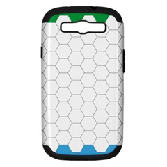 Hex Grid Plaid Green Yellow Blue Orange White Samsung Galaxy S Iii Hardshell Case (pc+silicone) by Mariart