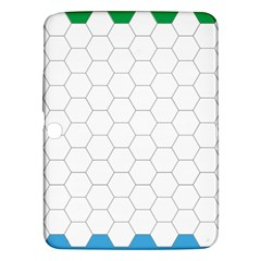 Hex Grid Plaid Green Yellow Blue Orange White Samsung Galaxy Tab 3 (10 1 ) P5200 Hardshell Case  by Mariart
