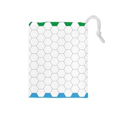 Hex Grid Plaid Green Yellow Blue Orange White Drawstring Pouches (medium)  by Mariart