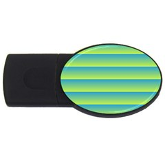Line Horizontal Green Blue Yellow Light Wave Chevron Usb Flash Drive Oval (2 Gb) by Mariart