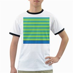 Line Horizontal Green Blue Yellow Light Wave Chevron Ringer T-shirts by Mariart