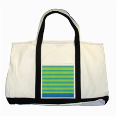 Line Horizontal Green Blue Yellow Light Wave Chevron Two Tone Tote Bag by Mariart