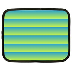 Line Horizontal Green Blue Yellow Light Wave Chevron Netbook Case (large) by Mariart