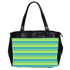 Line Horizontal Green Blue Yellow Light Wave Chevron Office Handbags (2 Sides)  by Mariart