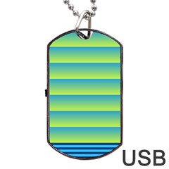 Line Horizontal Green Blue Yellow Light Wave Chevron Dog Tag Usb Flash (two Sides) by Mariart