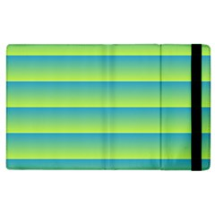 Line Horizontal Green Blue Yellow Light Wave Chevron Apple Ipad 3/4 Flip Case by Mariart