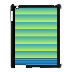 Line Horizontal Green Blue Yellow Light Wave Chevron Apple Ipad 3/4 Case (black) by Mariart
