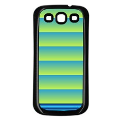 Line Horizontal Green Blue Yellow Light Wave Chevron Samsung Galaxy S3 Back Case (black) by Mariart