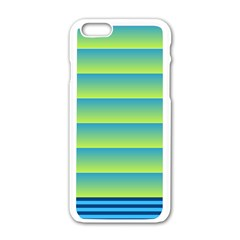 Line Horizontal Green Blue Yellow Light Wave Chevron Apple Iphone 6/6s White Enamel Case by Mariart