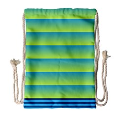 Line Horizontal Green Blue Yellow Light Wave Chevron Drawstring Bag (large) by Mariart
