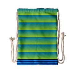 Line Horizontal Green Blue Yellow Light Wave Chevron Drawstring Bag (small) by Mariart