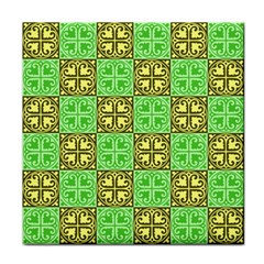 Clipart Aztec Green Yellow Tile Coasters by Mariart