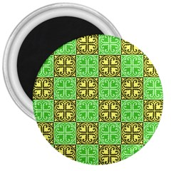Clipart Aztec Green Yellow 3  Magnets by Mariart