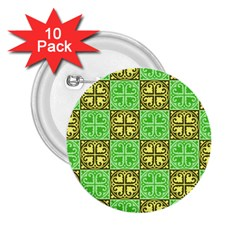 Clipart Aztec Green Yellow 2 25  Buttons (10 Pack)