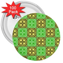 Clipart Aztec Green Yellow 3  Buttons (100 Pack)  by Mariart