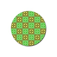 Clipart Aztec Green Yellow Rubber Round Coaster (4 Pack)  by Mariart