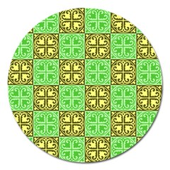 Clipart Aztec Green Yellow Magnet 5  (round) by Mariart