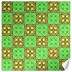 Clipart Aztec Green Yellow Canvas 12  X 12   by Mariart