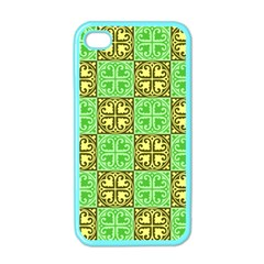 Clipart Aztec Green Yellow Apple Iphone 4 Case (color) by Mariart