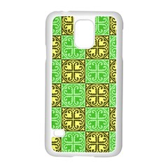 Clipart Aztec Green Yellow Samsung Galaxy S5 Case (white) by Mariart