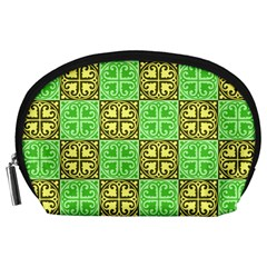 Clipart Aztec Green Yellow Accessory Pouches (large)  by Mariart