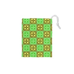 Clipart Aztec Green Yellow Drawstring Pouches (xs)  by Mariart