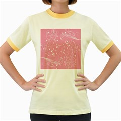 Floral Design Women s Fitted Ringer T Shirts