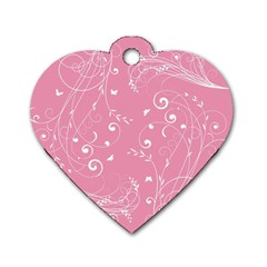 Floral Design Dog Tag Heart (two Sides) by ValentinaDesign