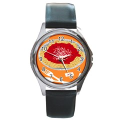 Instant Noodles Mie Sauce Tomato Red Orange Knife Fox Food Pasta Round Metal Watch by Mariart