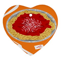 Instant Noodles Mie Sauce Tomato Red Orange Knife Fox Food Pasta Ornament (heart) by Mariart